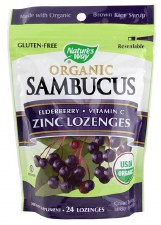 Nature's Way Organic Sambucus Zinc Lozenges, 24 lozenges