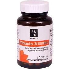 Pure Essence Vitamin D 5,000 IU, 30 vegetarian capsules