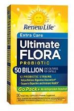 Renew Life Extra Care Ultimate Flora Probiotic  Go Pack 50 Billion, 30 vegetable capsules