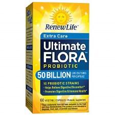 Renew Life Extra Care Ultimate Flora Probiotic  Go Pack 50 Billion, 60 vegetable capsules