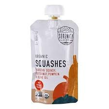 Serenity Kids Food Organic Squashes Baby Food for 6 months+, 3.5 oz.