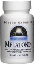 Source Naturals Sublingual Orange Malatonin, 2.5 mg., 60 tablets