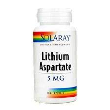 Solaray Lithium Aspartate, 5mg, 100 capsules