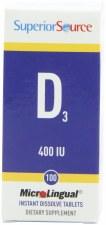 Superior Source D3 400 IU, 100 tablets