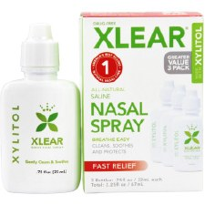 Xlear Saline Nasal Spray with Xylitol Greater Value 3 Pack, three .75 oz. bottles