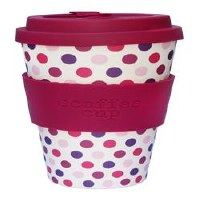 Ecoffee Cup Pink Polka Reusable Coffee Cup 400ml