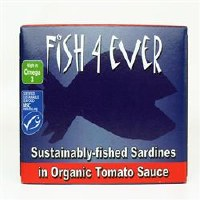 Fish4Ever Whole Sardines in Org Tom Sauc 1x120g