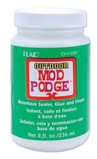 Mod Podge Gloss All-In-One Decoupage Sealer / Glue. Mod Podge is a milky white liquid that dries transparant in less than 10 minutes and it can also be used as a finish for decoup. It glues in one application.