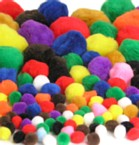 Pom Poms Pack of 100 (10-50mm) - Assorted Colours