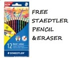 Colouring Pencils - Staedtler 12 full length with FREE eraser and pencil