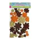 Wool Felt Flowers Pack of 22 - Brown