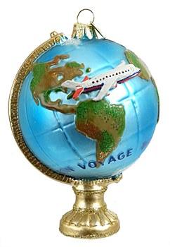 Glass Globe w/Plane Ornament