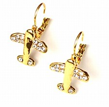 Crystal Earrings-Gold Tone