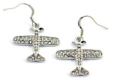 Crystal Plane Earrings Clear