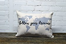 """Follow Dreams"" Lt Gray Pillow"