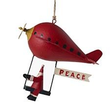 Tin Plane w/Santa Swing