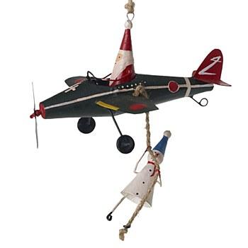 Tin Santa/Snowman Plane