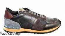Valentino Leather Camo Runner Navy