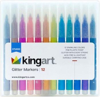 KINGART Glitter Markers - Set of 12
