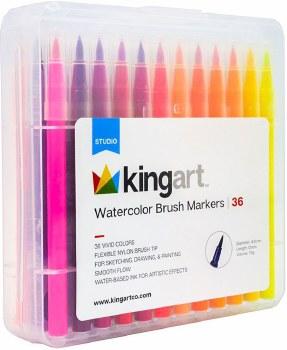KINGART Watercolor Brush Tip Markers, Set of 36