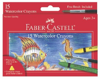 Faber-Castell Watercolor Crayons 15 Piece Set with Brush