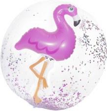 3D Flamingo Confetti Beach Ball