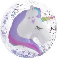 3D Unicorn Confetti Beach Ball