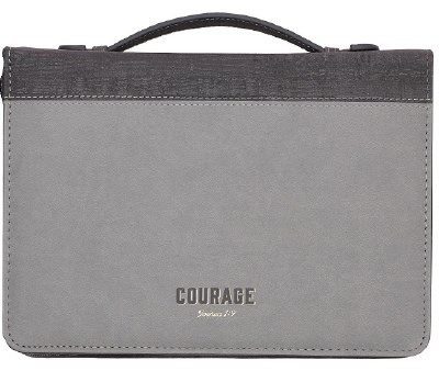 Bible Cover - LuxeLeather, Gray, Courage, Medium