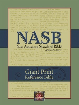 NASB Giant Print Reference Bible - Black Genuine Leather