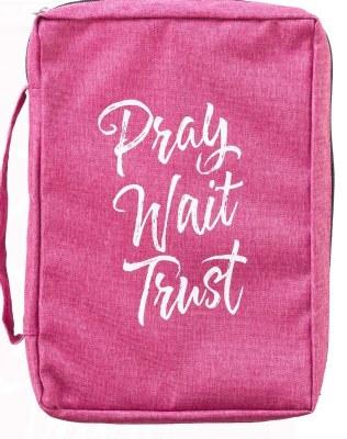 Bible Cover - Canvas, Pink, Pray Wait Trust, Medium