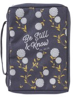 Bible Cover - Canvas, Be Still & Know, Navy, Large