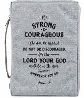 Bible Cover - Canvas, Gray, Be Strong & Courageous