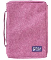 Bible Cover - Canvas, Pink, Hope & Future, Large