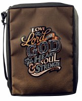 Bible Cover - Canvas, Brown, Love the Lord, Large