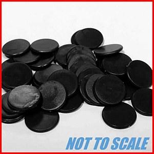 Plastic Counters : Plastic Discs : 12mm Diameter : Black : (50)