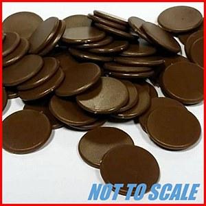 Plastic Counters : Plastic Discs : 22mm Diameter : Brown : (40)