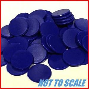 Plastic Counters : Plastic Discs : 22mm Diameter : Blue : (40)