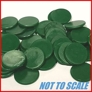 Plastic Counters : Plastic Discs : 12mm Diameter : Green : (50)