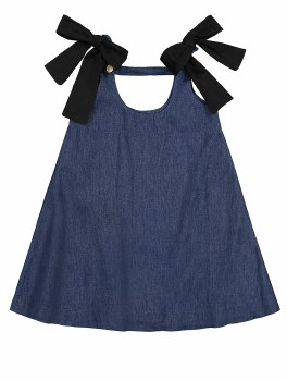 Denim Jumper w/ Bows Dark 4