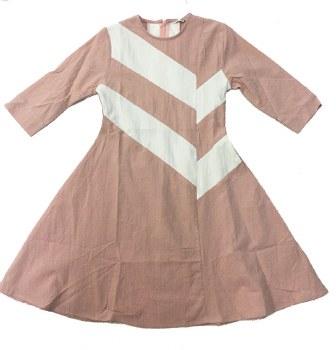 Horizontal Stripe Dress Pink/W