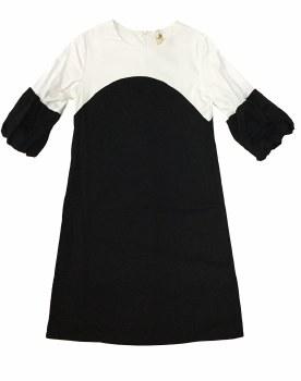 Dress W/ Bubble Sleeve Black/W