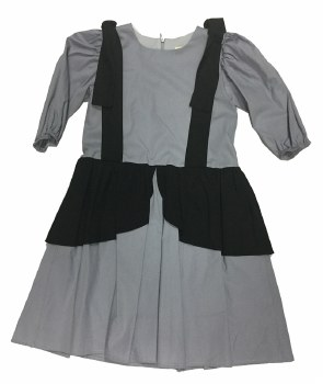 Dress W/ Shoulder Bow Grey/Bla