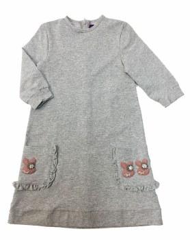 Dress W/ Ruffled Pockets Grey