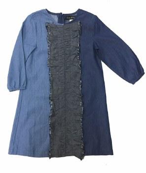 Denim Ruffle Dress Blue 3