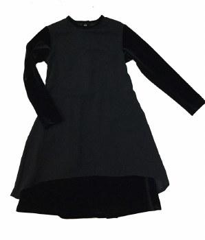 Dress w/ Chiffon Overlay Black