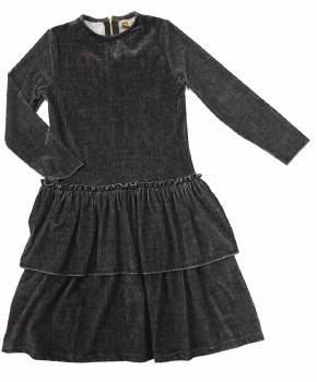 Ribbed Velour Dress Charcoal 1