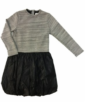Metallic Bubble Dress Grey/Bla
