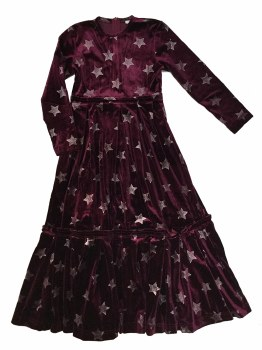 Velour Stars Robe Burgundy 7