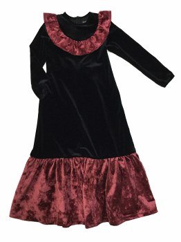 Velour Bib Robe Black/Burgundy