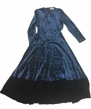 Crushed Velour Robe Blue/Black